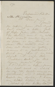 Rebecca Buffum Spring autograph letter signed to Thomas Wentworth Higginson, Eagleswood [Perth Amboy, N.J.], 10 February [1860]