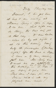 Thomas Wentworth Higginson autograph letter to [Mrs. Mary Elizabeth Channing Higginson, N.Y., 16 February 1860]