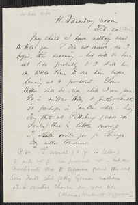 Thomas Wentworth Higginson autograph letter to [Mrs. Mary Elizabeth Channing Higginson, Harrisburg, PA], 20 February [1860]