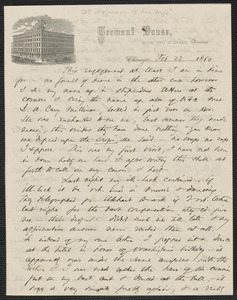 Thomas Wentworth Higginson autograph letter to [Mrs. Mary Elizabeth Channing Higginson], Chicago, 23 February 1860