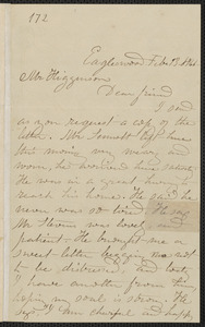 Rebecca Buffum Spring autograph letter signed to Thomas Wentworth Higginson, Eagleswood [Perth Amboy, N.J.], 13 February [1860]