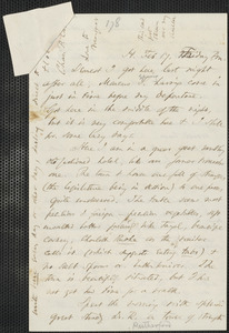 Thomas Wentworth Higginson autograph letter to [Mrs. Mary Elizabeth Channing Higginson, Harrisburg, PA], 17 February [1860]