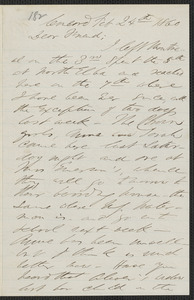 F. B. Sanborn autograph letter signed to [Thomas Wentworth Higginson], Concord, 24 February 1860