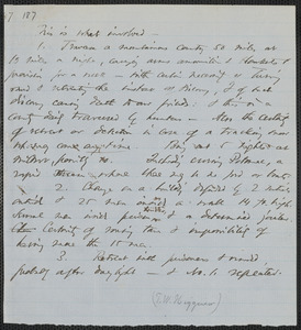 Thomas Wentworth Higginson manuscript memorandum listing the obstacles in the way of Aaron Dwight Steven's escape, [approximately February 1860]