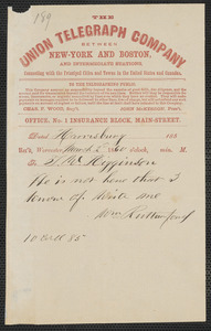 William W. Rutherford telegram to Thomas Wentworth Higginson, Harrisburg, [PA], 2 March 1860