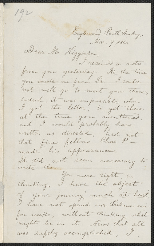 Edward Adolphus Spring autograph letter signed to Thomas Wentworth Higginson, Eagleswood, Perth Amboy [N. J.], 9 and 10 March 1860