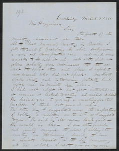 J. H. Fowler autograph letter signed to Thomas Wentworth Higginson, Cambridge, 9 March 1860