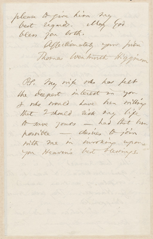 Thomas, Wentworth Higginson autograph letter signed to [Aaron Dwight Stevens, Worcester], 12 March 1860