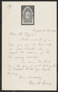 Edward Adolphus Spring autograph letter signed to Thomas Wentworth Higginson, Eagleswood, [Perth Amboy, N.J.], 11 March [18]60