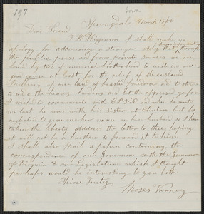 Moses Varney autograph letter signed to [Thomas Wentworth Higginson, Springdale Iowa], 18 March [18]60