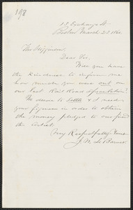 John W. LeBarnes autograph letter signed to Thomas Wentworth Higginson, Boston, 23 March 1860