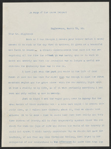 Caroline Cushing Andrews Leighton typed letter to Thomas Wentworth Higginson, [Eagleswood Perth Amboy, N.J.], 29 March [18]60
