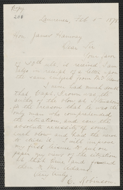 Charles Robinson letter to James Hannay, Lawrence, [Kansas], 5 February 1878