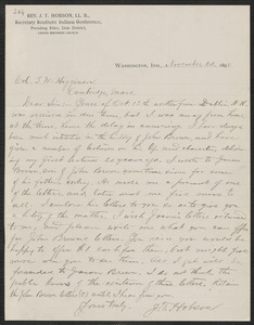 J. T.  Hobson autograph letter signed to Thomas Wentworth Higginson, [Washington, Ind.], 2 November 1898