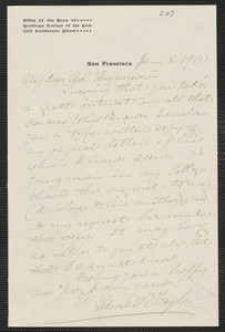 Edward Robeson Taylor autograph letter signed to Thomas Wentworth Higginson, San Francisco, 8 January 1900