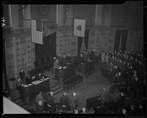 Governor Saltonstall swearing in the Massachusetts House of Representatives
