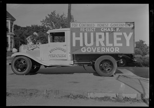 Advertisement on truck for Governor Charles Hurley's re-election campaign