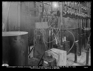 Wachusett Department, Wachusett Dam Hydroelectric Power Plant, break in turbine No. 2, temporary oil switch and meter, Clinton, Mass., Feb. 17, 1919