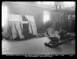 Wachusett Department, Wachusett Dam Hydroelectric Power Plant, break in turbine No. 2, hot air blower and temporary oven, Clinton, Mass., Feb. 17, 1919