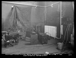 Wachusett Department, Wachusett Dam Hydroelectric Power Plant, break in turbine No. 2, high potential testing outfit, Clinton, Mass., Feb. 17, 1919