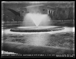Wachusett Department, Wachusett Dam Hydroelectric Power Station, discharge at rate of 266 million gallons a day into Nashua River, Clinton, Mass., May 6, 1919
