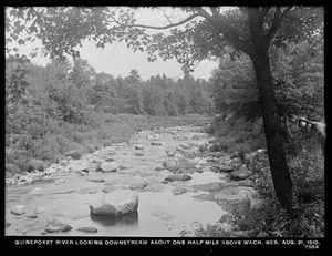 Wachusett Department, Quinapoxet River, looking downstream about one half-mile above Wachusett Reservoir, West Boylston, Mass., Aug. 21, 1919