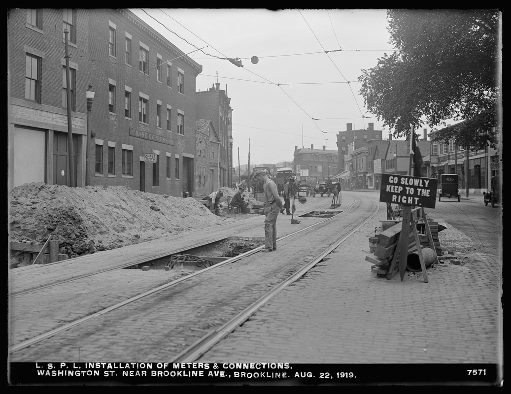 Distribution Department, Low Service Pipe Lines, installation of meters and connections, Washington Street near Brookline Avenue, Brookline, Mass., Aug. 22, 1919