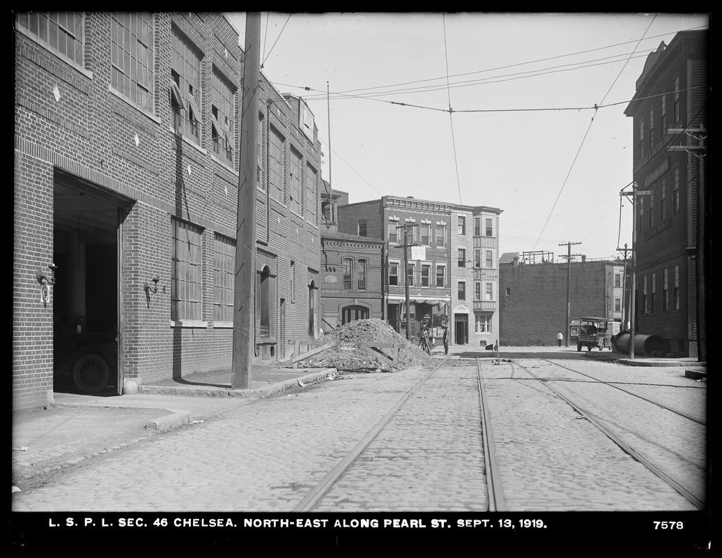 Distribution Department, Low Service Pipe Lines, Section 46, northeast along Pearl Street, Chelsea, Mass., Sep. 13, 1919