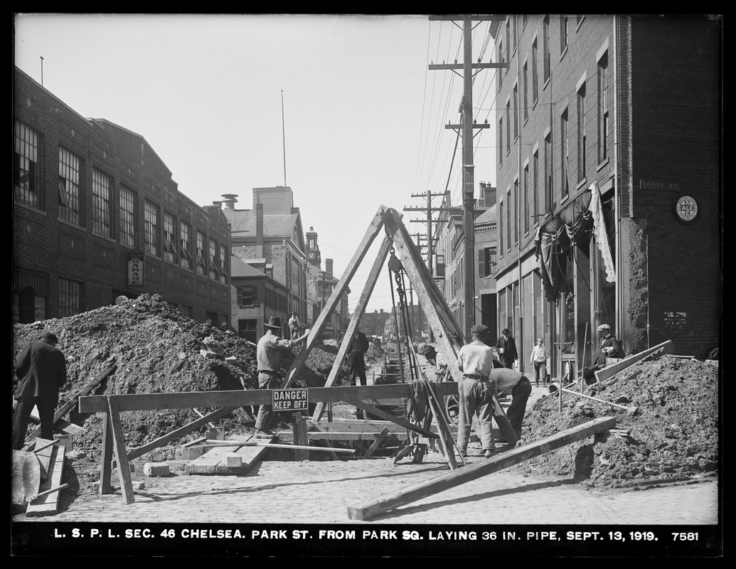 Distribution Department, Low Service Pipe Lines, Section 46, laying 36-inch pipe in Park Street from Park Square, Chelsea, Mass., Sep. 13, 1919