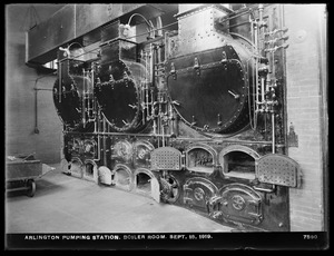 Distribution Department, Arlington Pumping Station, boiler room, Arlington, Mass., Sep. 15, 1919