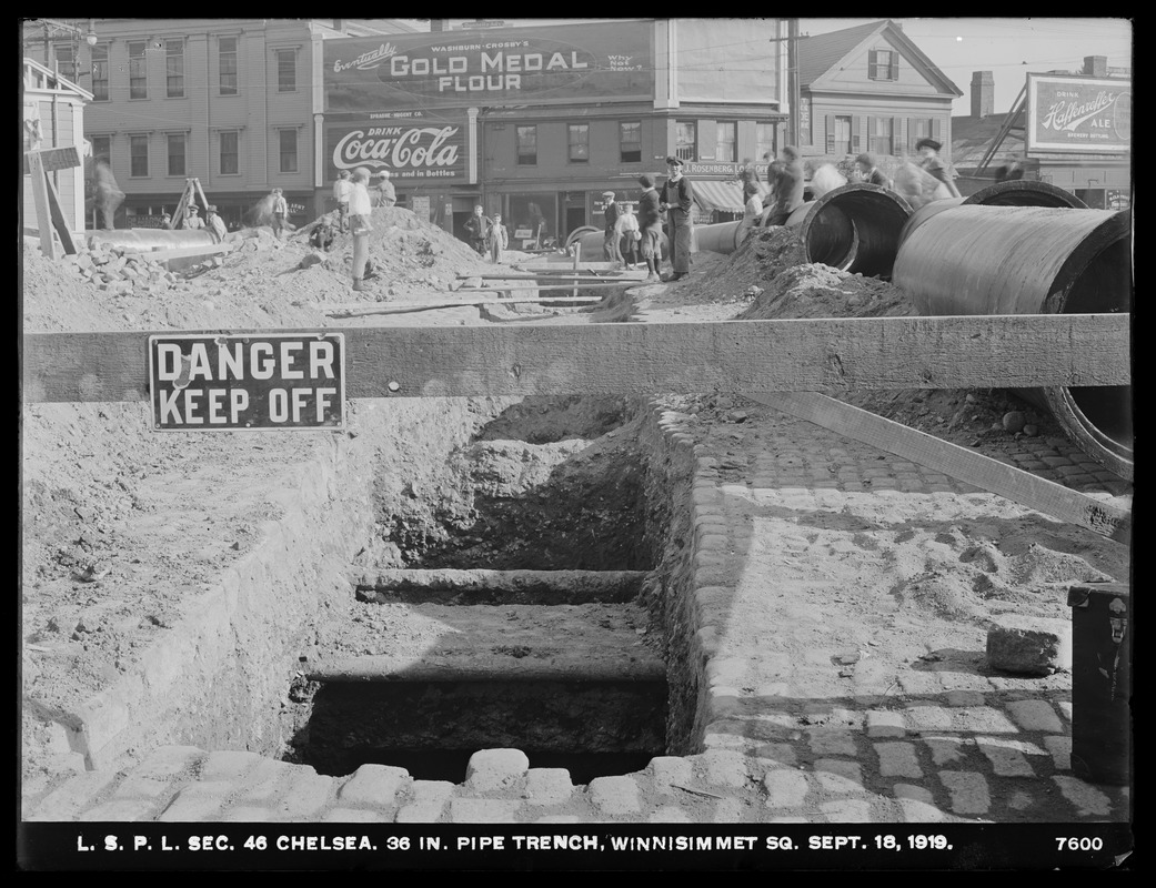 Distribution Department, Low Service Pipe Lines, Section 46, 36-inch pipe trench, Winnisimmet Square, Chelsea, Mass., Sep. 18, 1919
