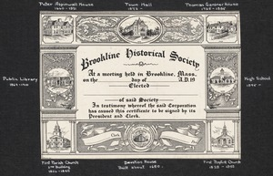 General views, miscellany, Brookline Historical Society member certificate