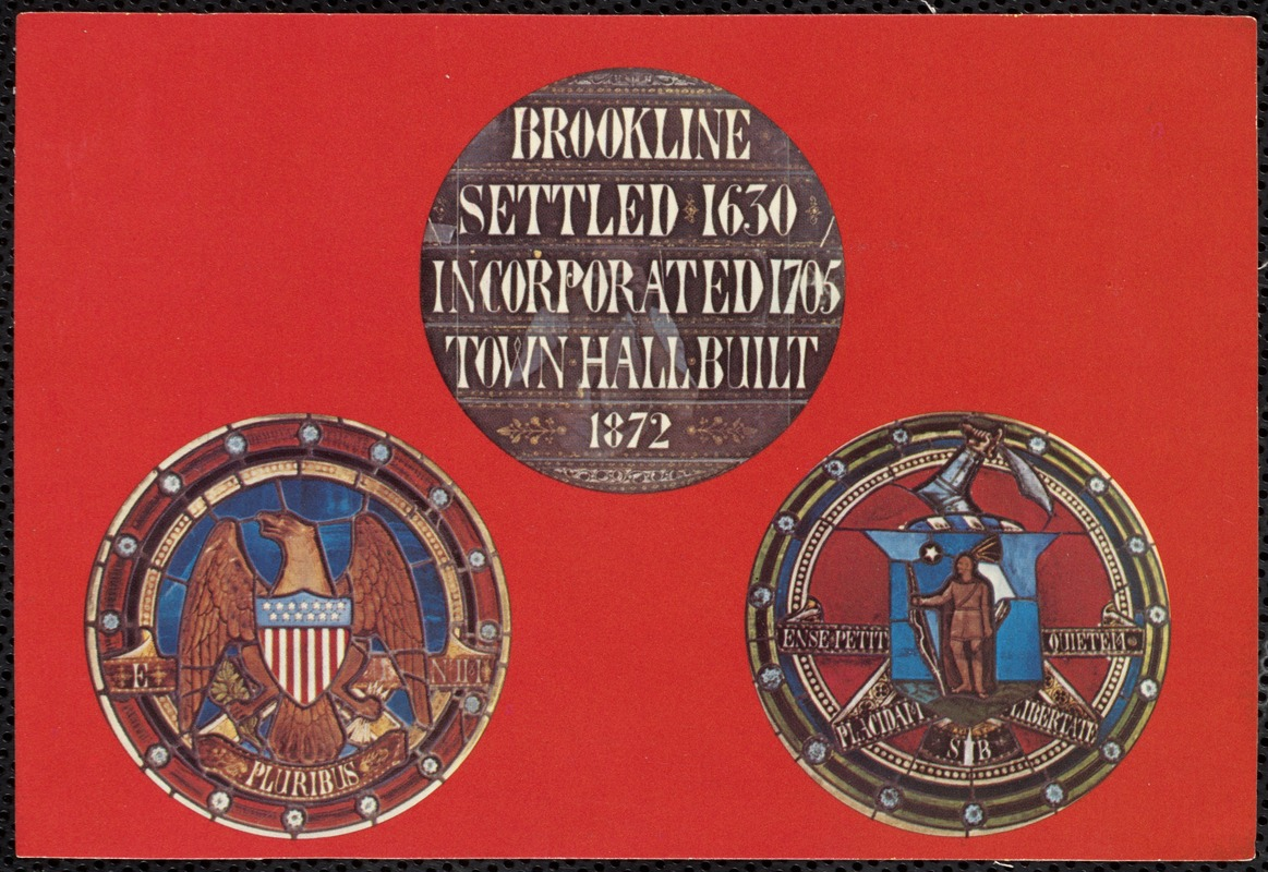 Stained glass windows designed for Town Hall in 1872: town seal, seal of the U.S., Mass. state seal