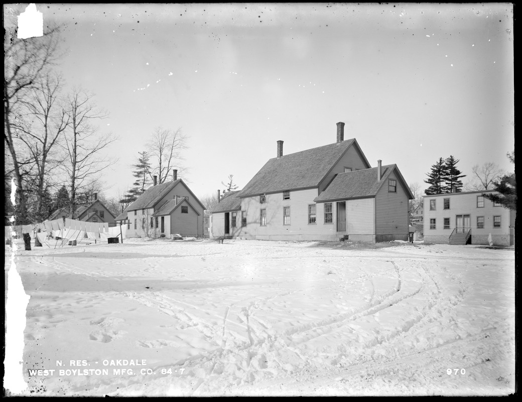 Wachusett Reservoir, West Boylston Manufacturing Company's houses, on the south side of Holden Street, from the southeast, Oakdale, West Boylston, Mass., Dec. 28, 1896