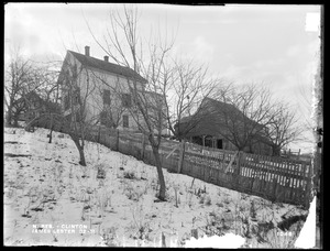 Wachusett Reservoir, James Lester's house and barn, on the west side of Boylston Street, from the northwest in the yard back of David Latin's house, Clinton, Mass., Jan. 22, 1897