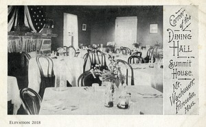 Hotels, Princeton, MA - Summit House, Mount Wachusett, interior, Dining Hall, postcard