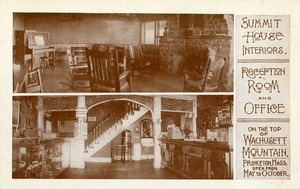 Hotels, Princeton, MA - Summit House, Mount Wachusett, interior, Reception Room & Office, postcard