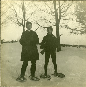 Portrait, Princeton, MA - Beaman Family - two boys on snowshoes with rifles