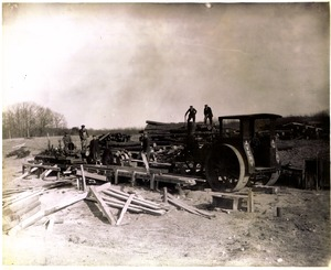 Eddie Dean's sawmill at the Ward homestead, circa 1917, Main Street, Shrewsbury, Mass.