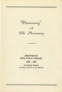 """Homecoming"" and 50th Anniversary brochure for the Shrewsbury Public Library"