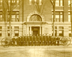 American Optical Company Firemen in front of the main entrance on Mechanic Street, Southbridge