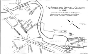 American Optical Company in 1921 campus map: dates indicate the year of erection or remodeling the several buildings into their present construction