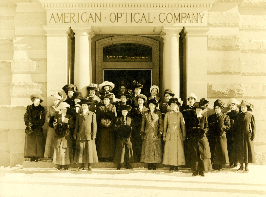 American Optical Company women at the main entrance, Main Plant, Southbridge