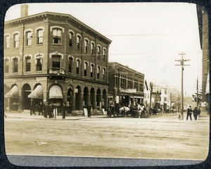 Central Street and corner of Main Street Southbridge Massachusetts: looking north