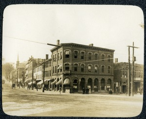 Hartwell building and north side of Main street and the corner of Central Street Southbridge