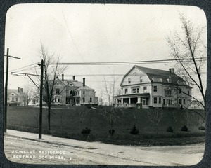Residences of George W. Wells and Joel Cheney Wells on Main Street Southbridge Massachusetts with a glimpse of a third residence
