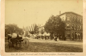 Southbridge Universalist church to Hartwell building and north side of Main street with horse drawn carriage