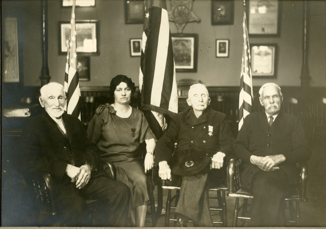 The Last Survivors of Grand Army of the Republic Post 168 with Rose Shepard in GAR Memorial Hall Town Hall Southbridge Massachusetts