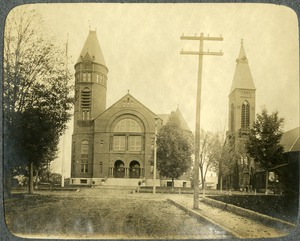 Town Hall and Elm Street Congregational Church, Southbridge, Massachusetts
