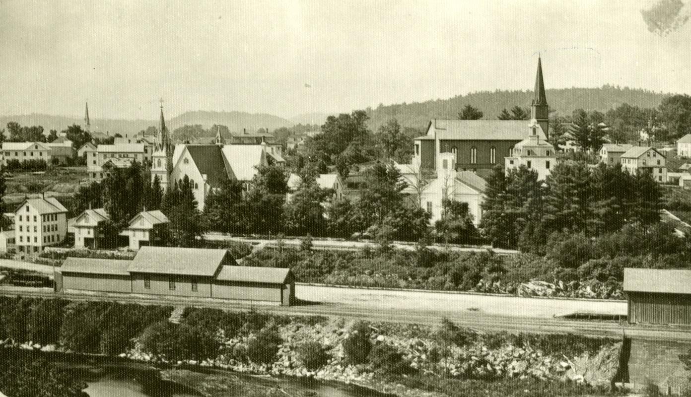 View of Southbridge from Cliff Street of the Crane, River, Pine street areas, including St. Mary's Church and Old Notre Dame Church and the Quinebaug River